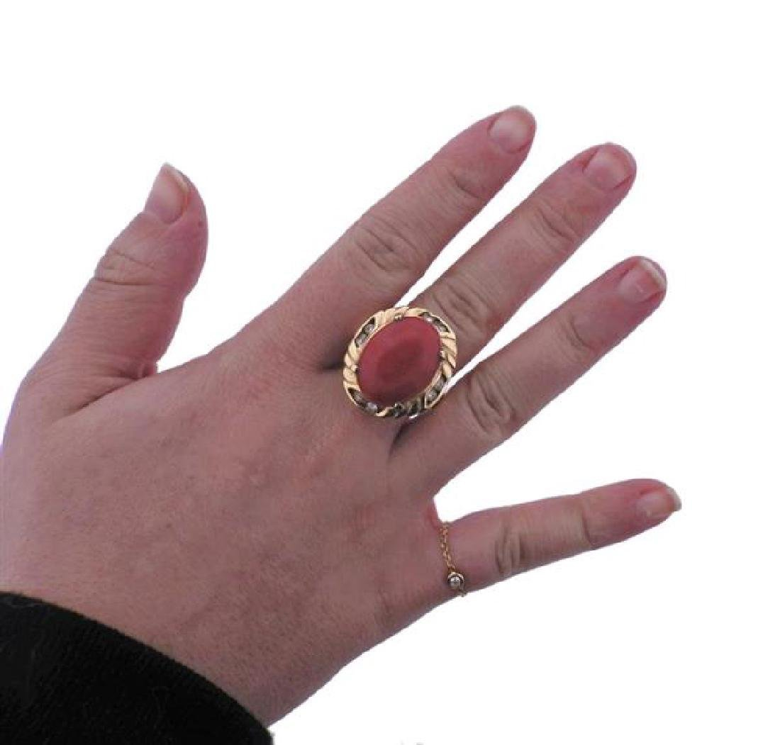 14K Gold Diamond Coral Cocktail Ring - 4