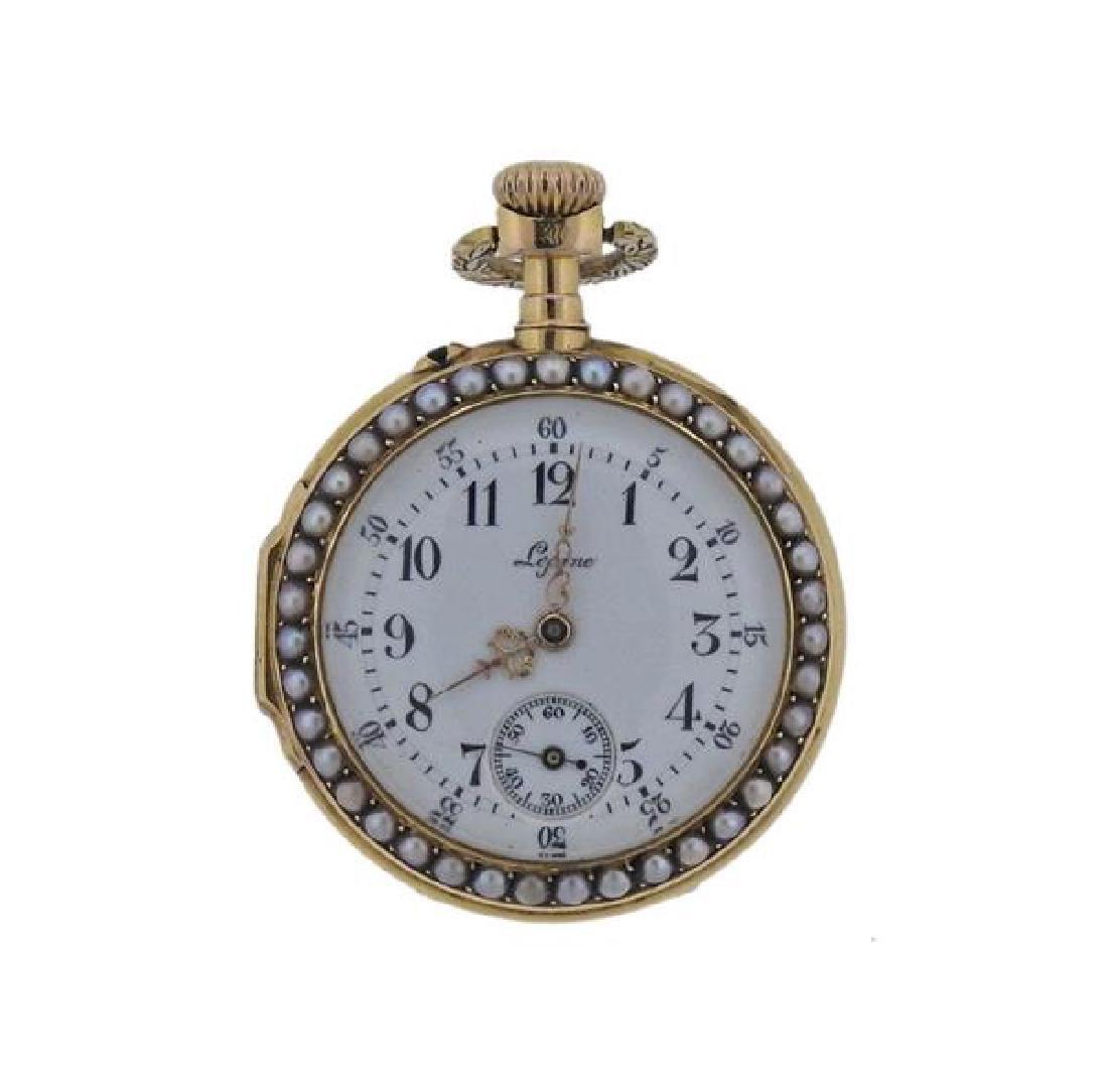 Antique Lepine 18k Gold Pearl Enamel Pocket Watch