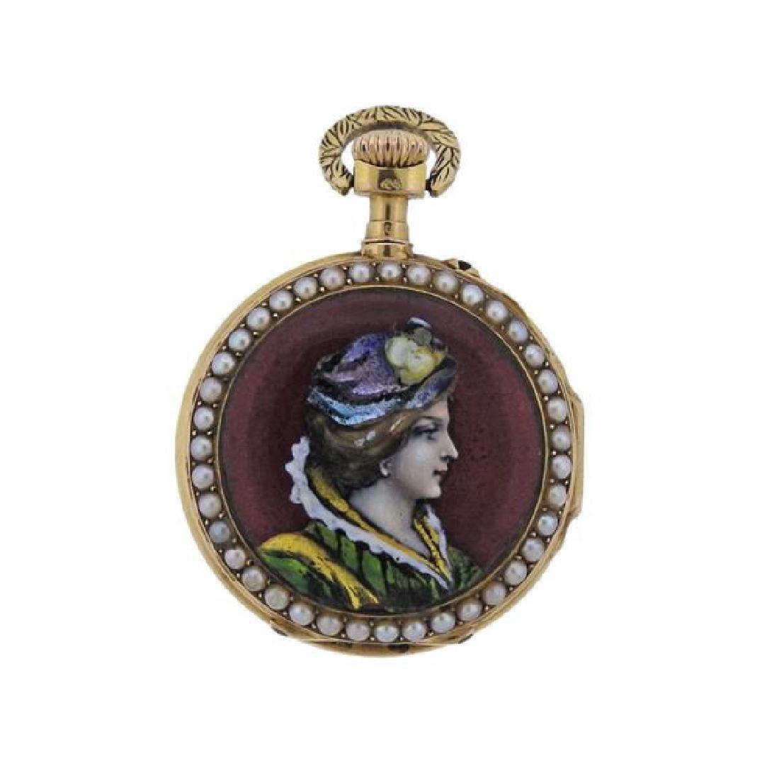 Antique Lepine 18k Gold Pearl Enamel Pocket Watch - 2