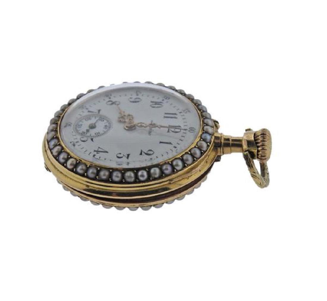 Antique Lepine 18k Gold Pearl Enamel Pocket Watch - 3