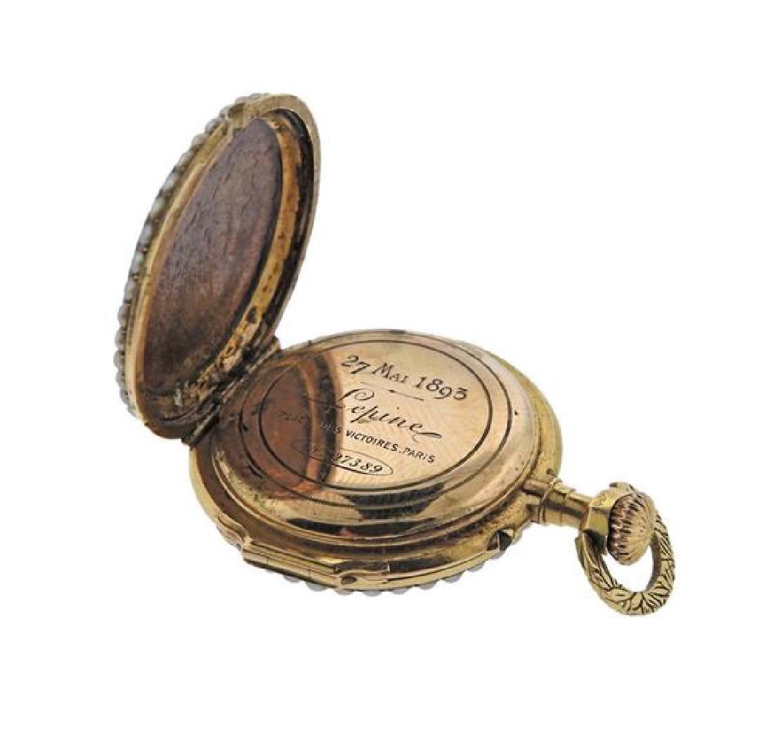 Antique Lepine 18k Gold Pearl Enamel Pocket Watch - 4