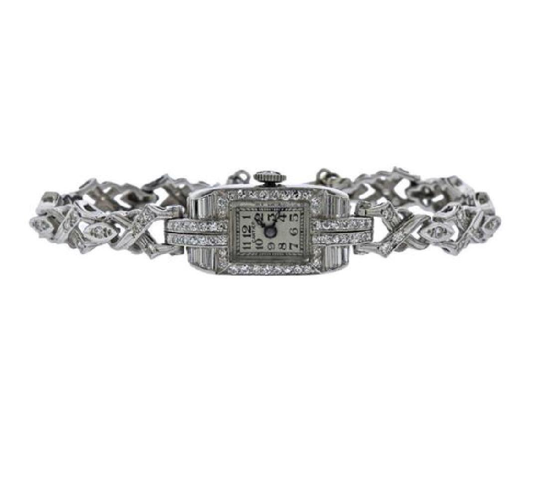 Art Deco Cartier Movado Platinum Gold Diamond Watch
