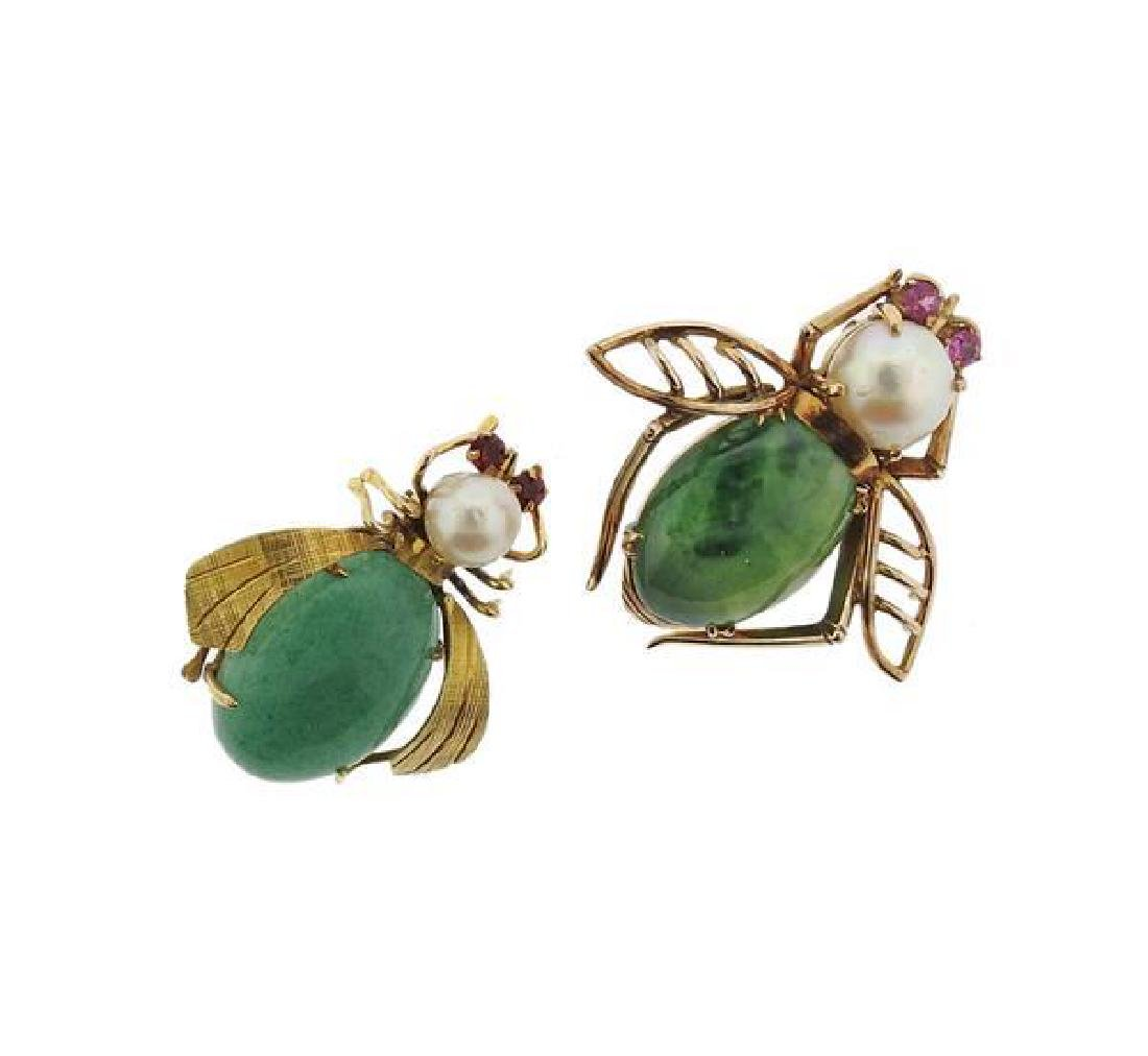 14K Gold Pearl Gemstone Insect Brooch Lot of 2