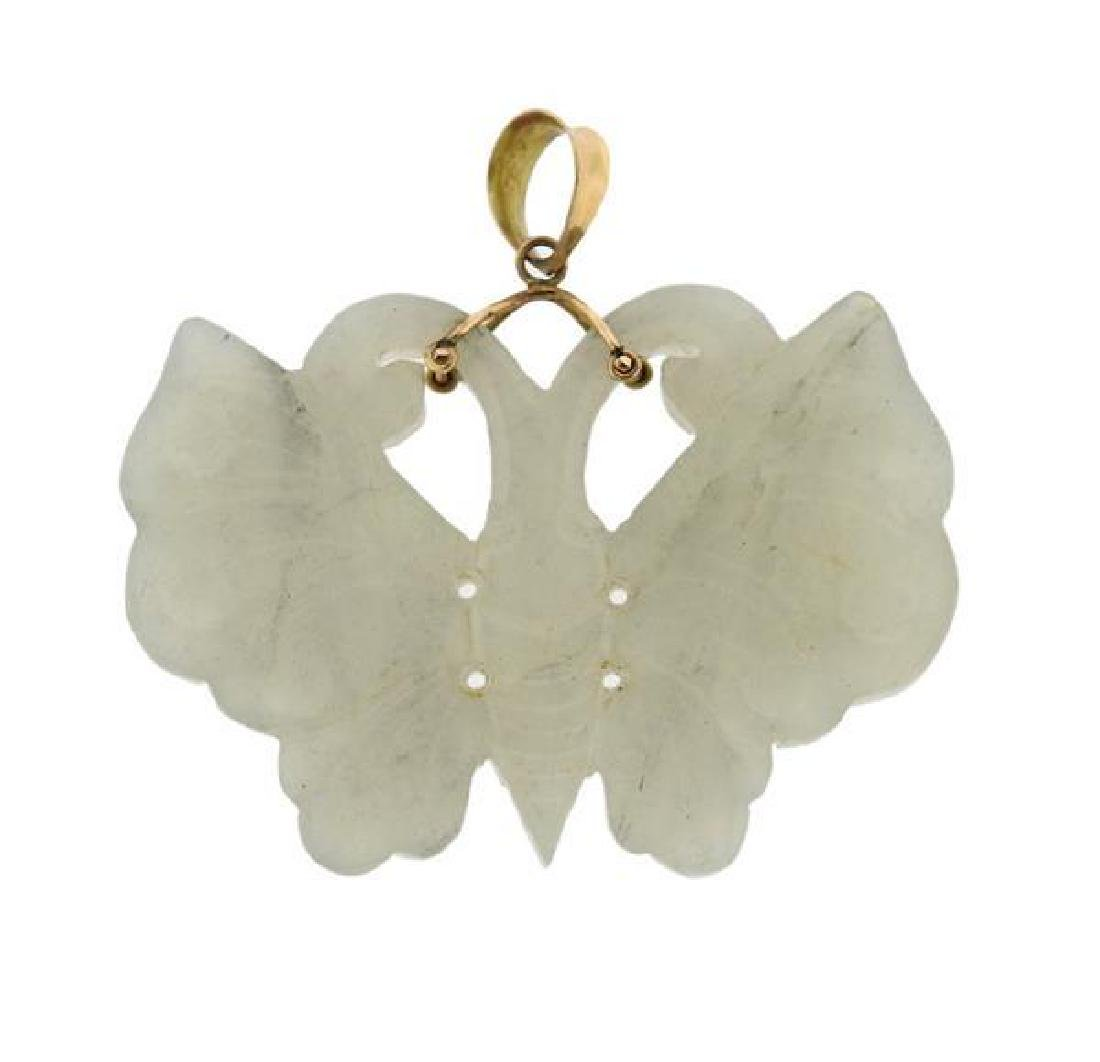 14k Gold Carved Jade Butterfly Pendant