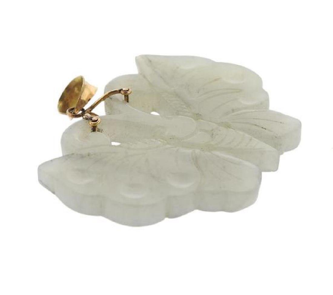 14k Gold Carved Jade Butterfly Pendant - 2