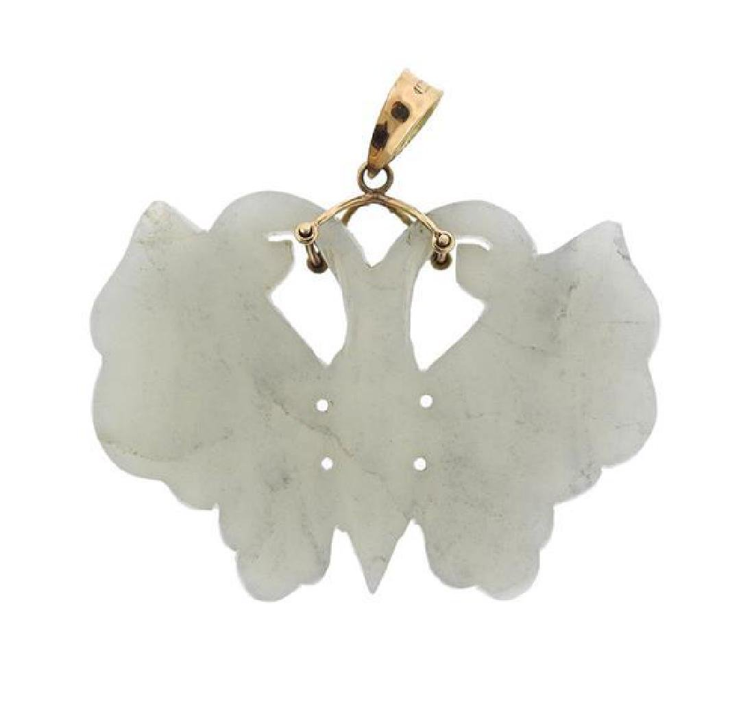 14k Gold Carved Jade Butterfly Pendant - 3