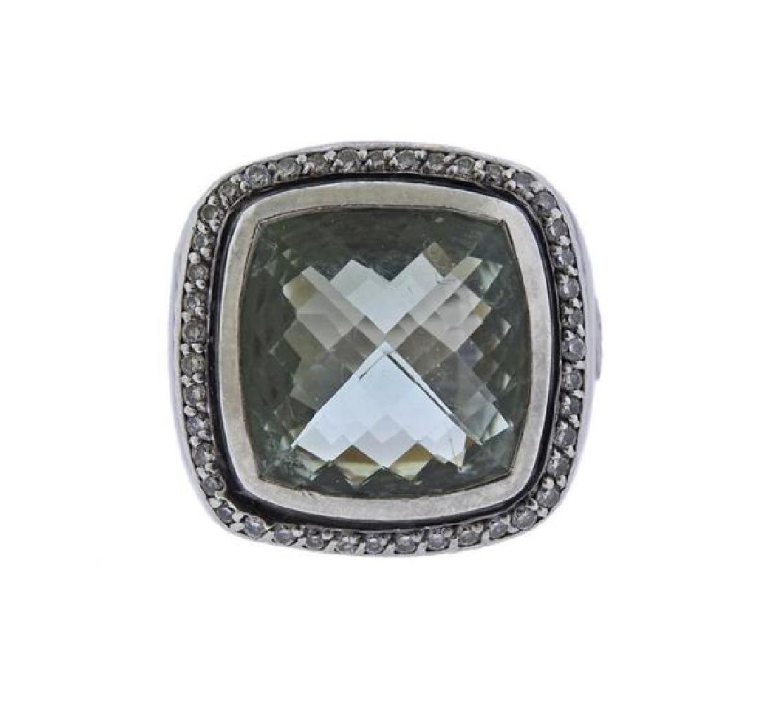 David Yurman Sterling Diamond Prasiolite Albion Ring