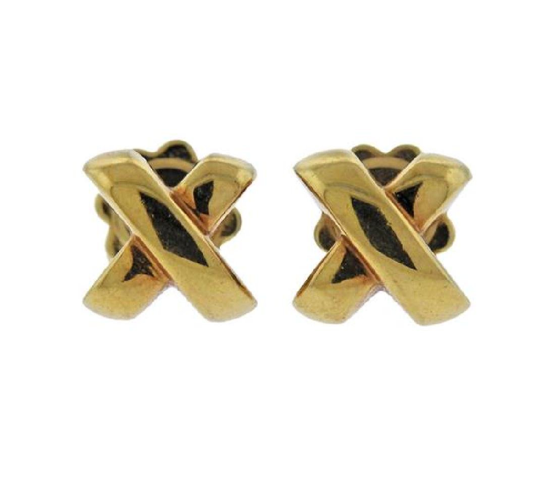 Tiffany & Co 18K Gold X Kiss Earrings