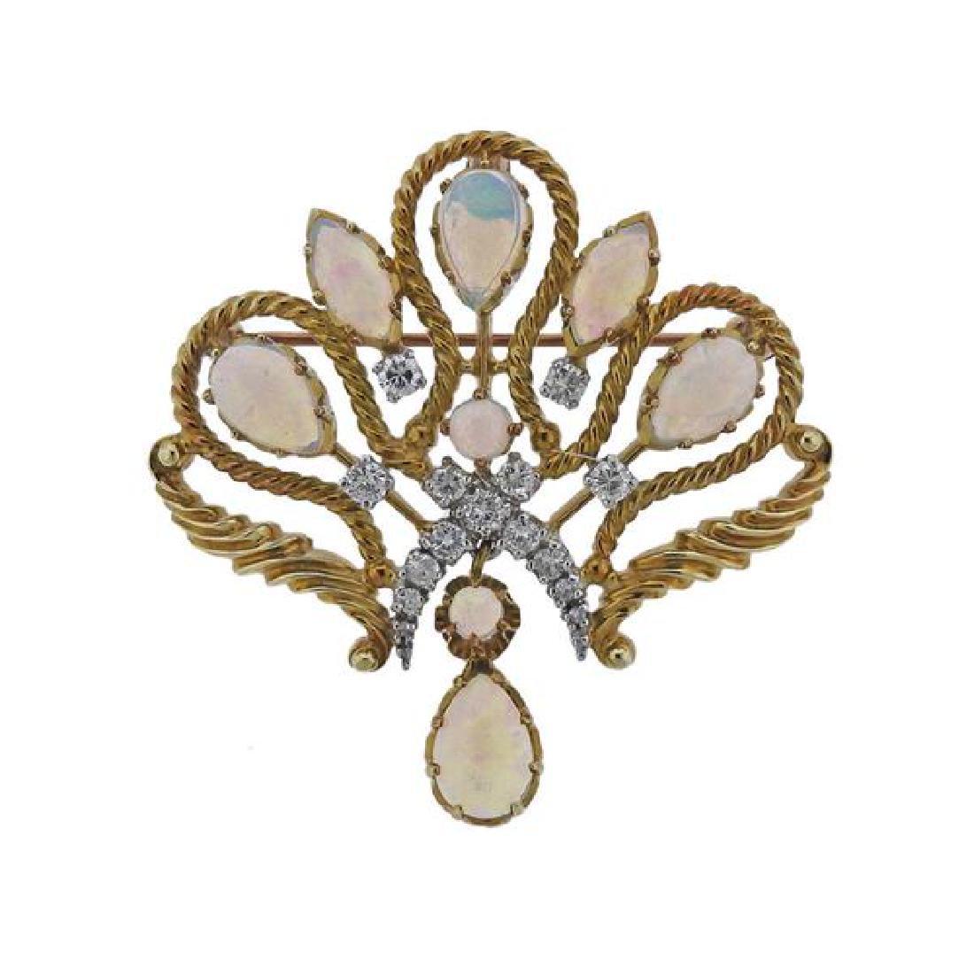 14K Gold Diamond Opal Pendant Brooch