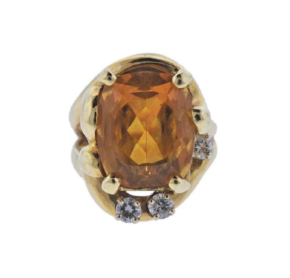 14K Gold Diamond Yellow Gemstone Ring