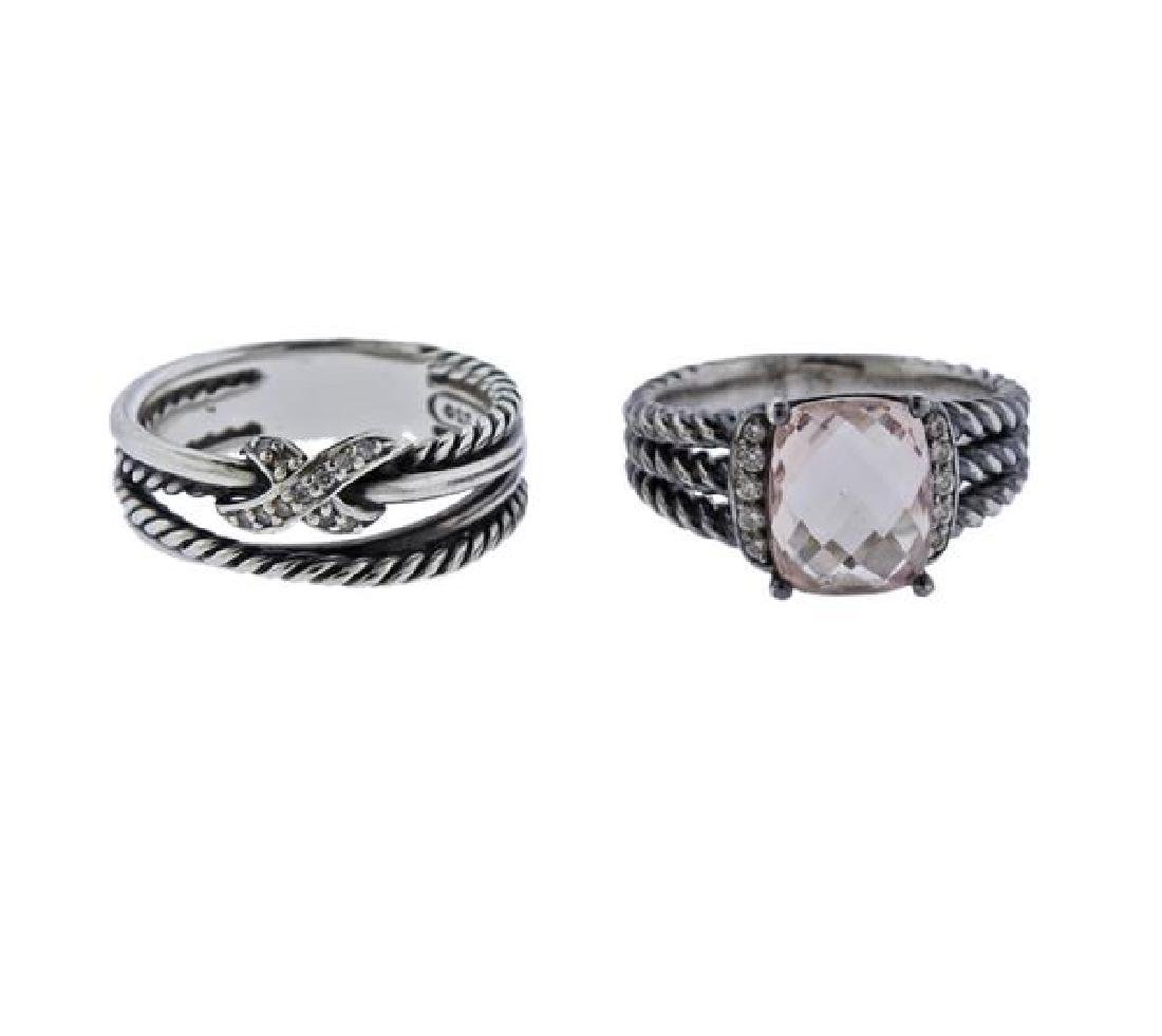 David Yurman  Sterling Diamond Pink Gemstone Ring Lot