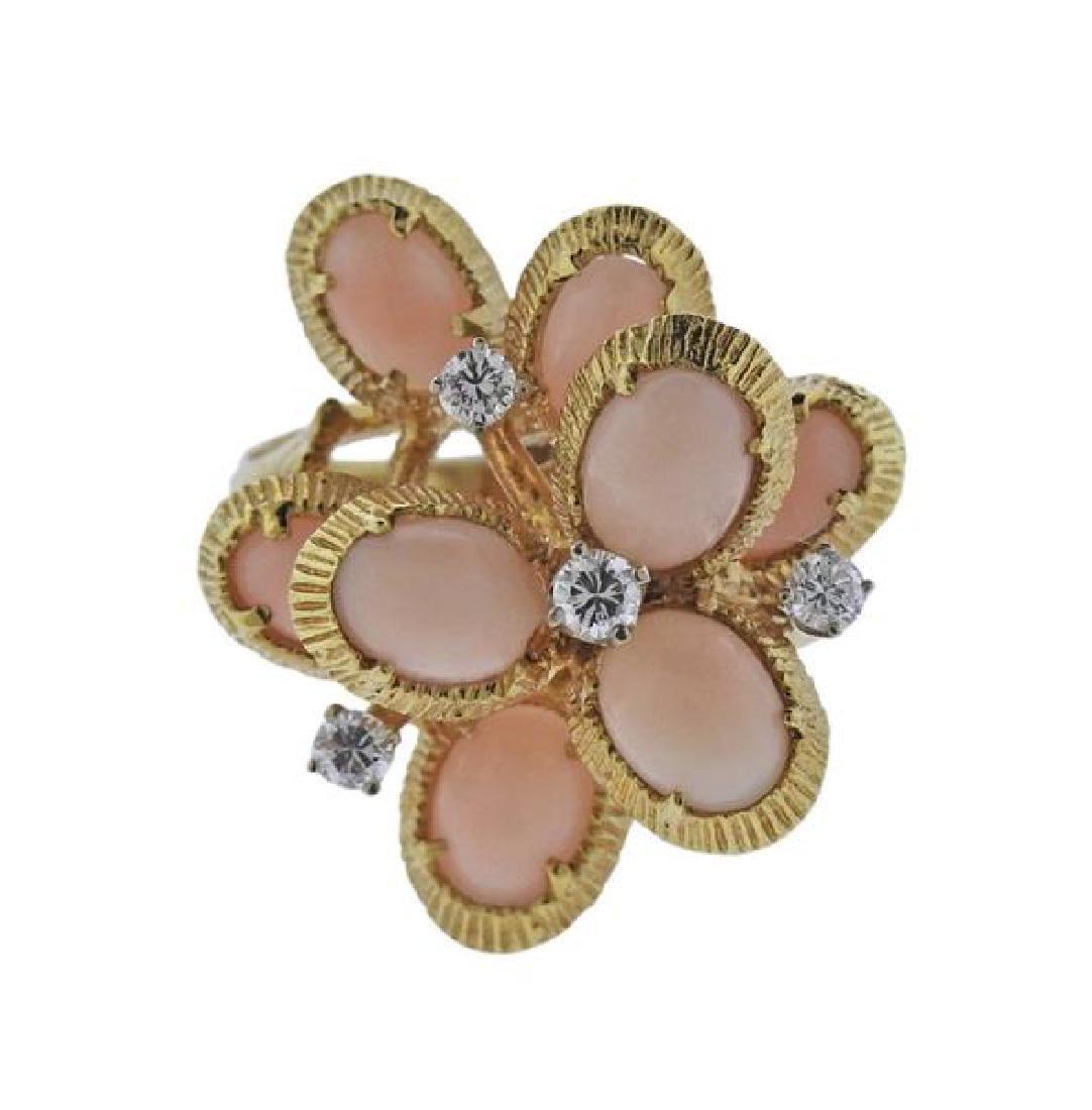 18K Gold Diamond Coral Ring