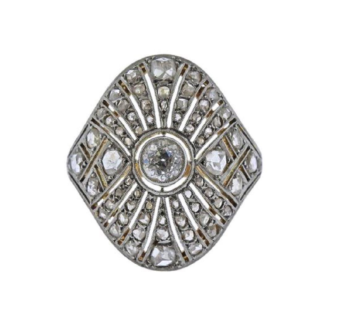 Art Deco 18K Gold Platinum Diamond Ring