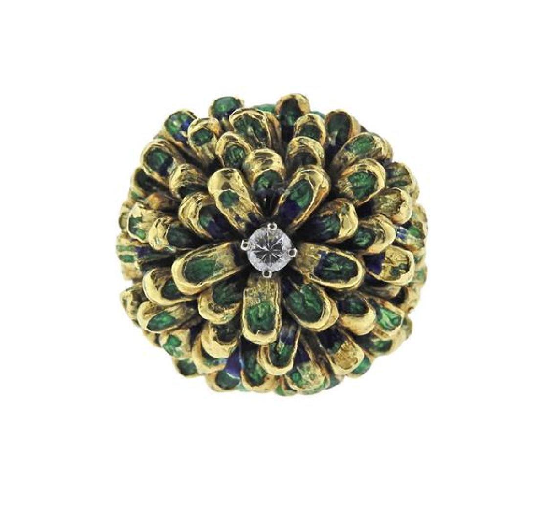 18K Gold Diamond Enamel Dome Ring