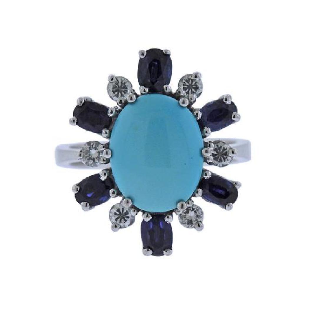 18K Gold Diamond Sapphire Turquoise Ring