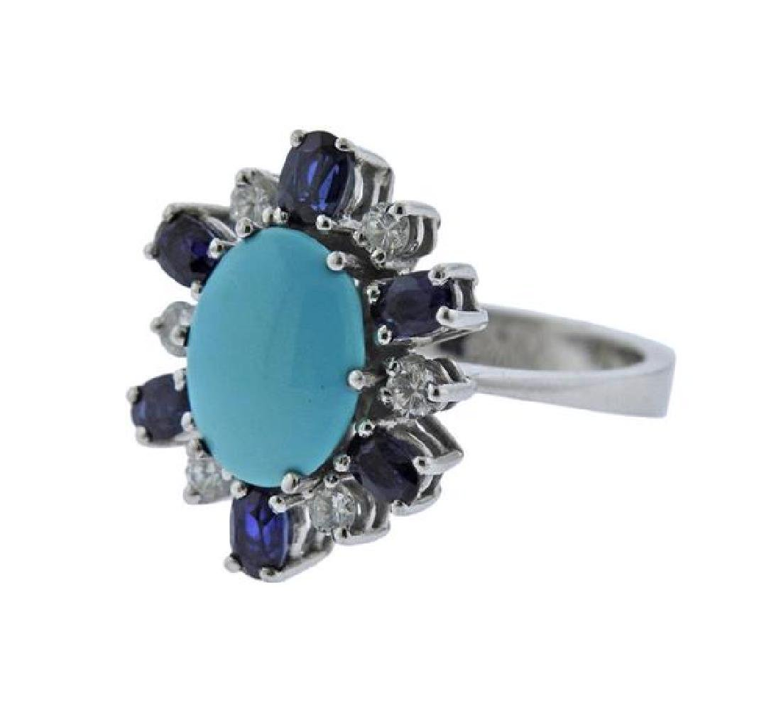 18K Gold Diamond Sapphire Turquoise Ring - 2