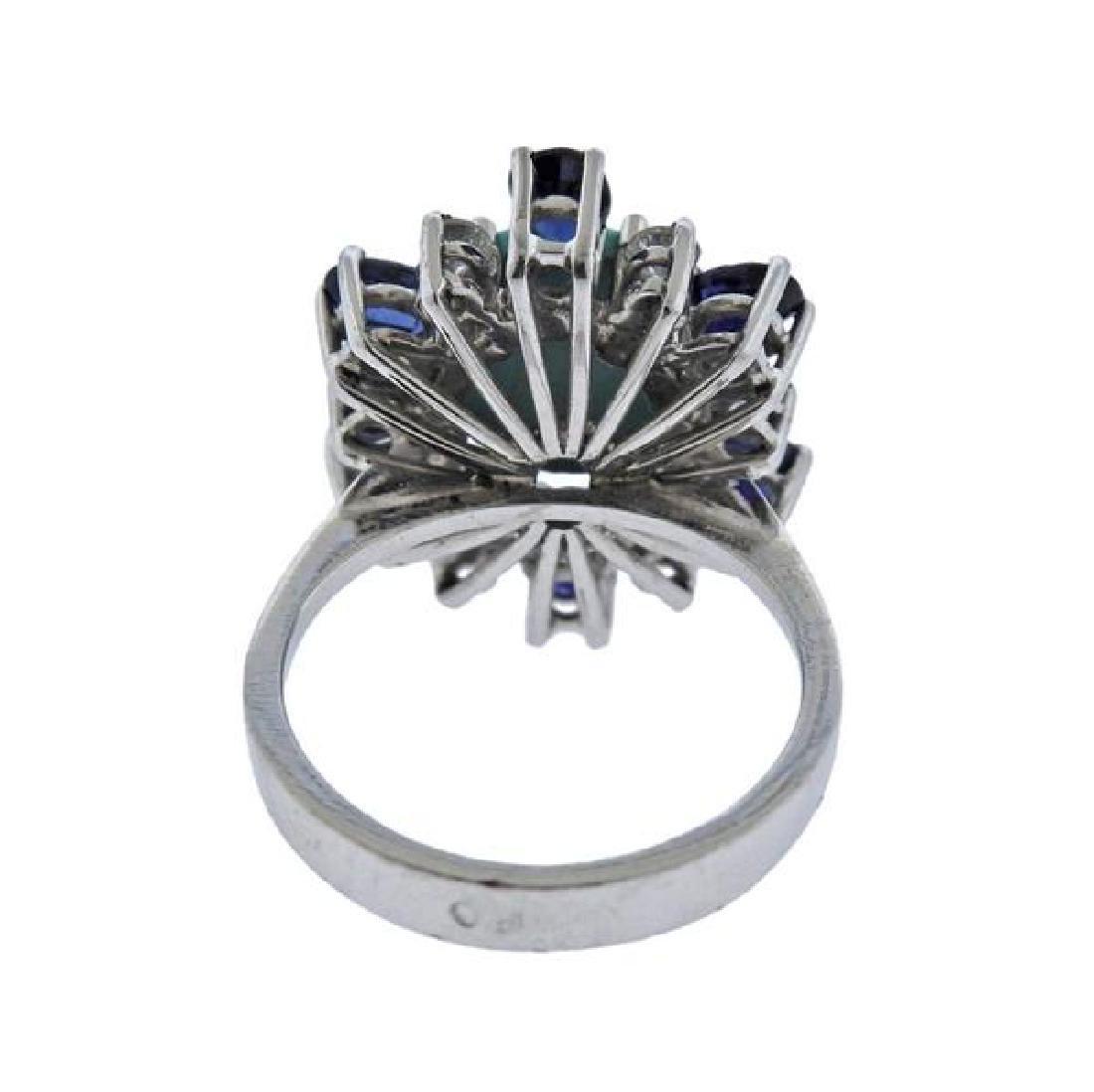 18K Gold Diamond Sapphire Turquoise Ring - 3