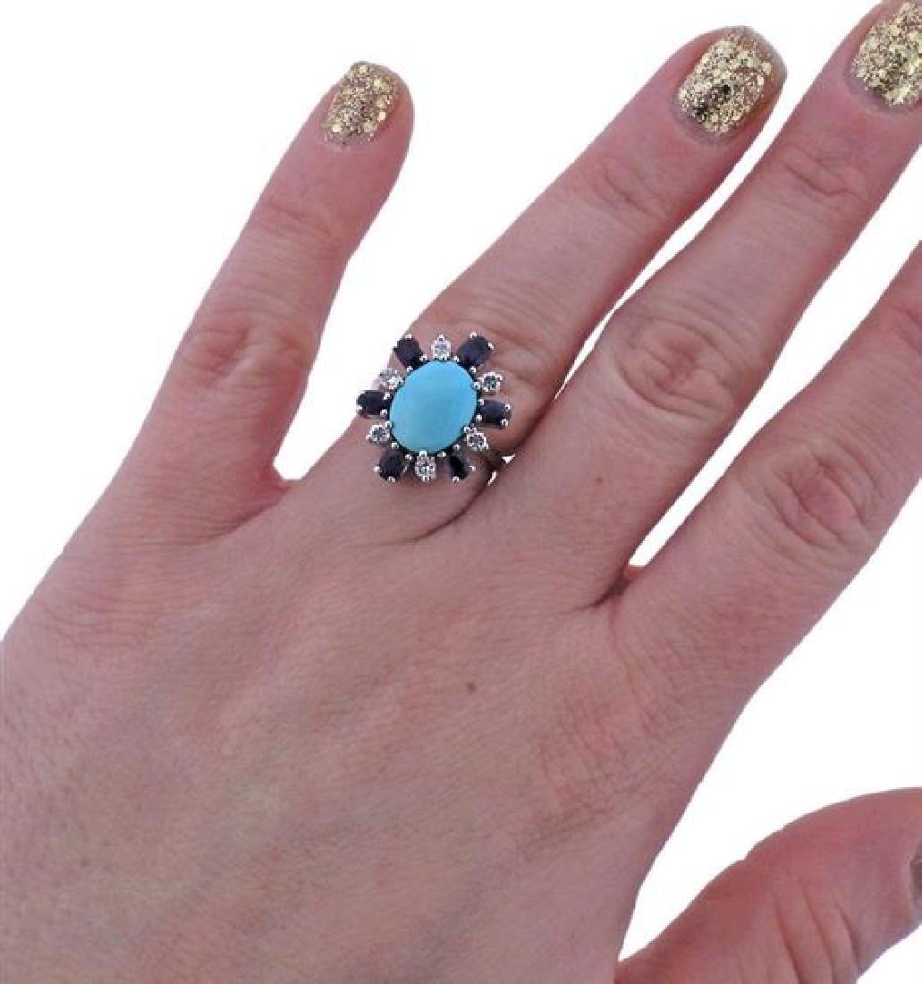 18K Gold Diamond Sapphire Turquoise Ring - 4