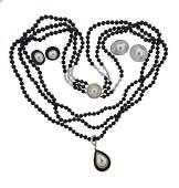 14K Gold Diamond Pearl Onyx Necklace Earrings Set