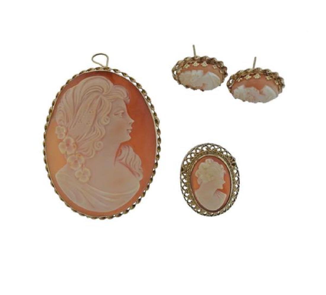 14K Gold Shell Cameo Brooch Earrings Lot