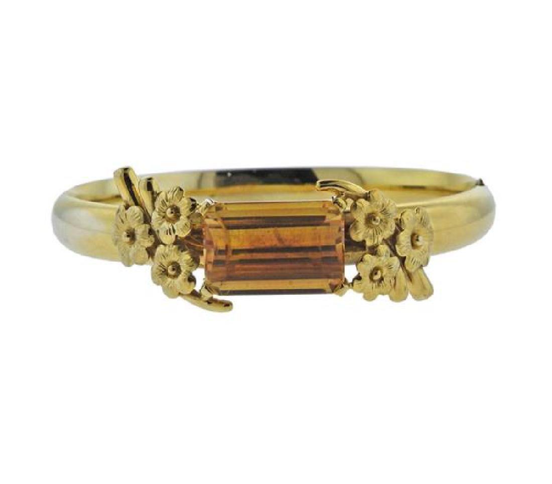 14K Gold Orange Gemstone Bangle Bracelet