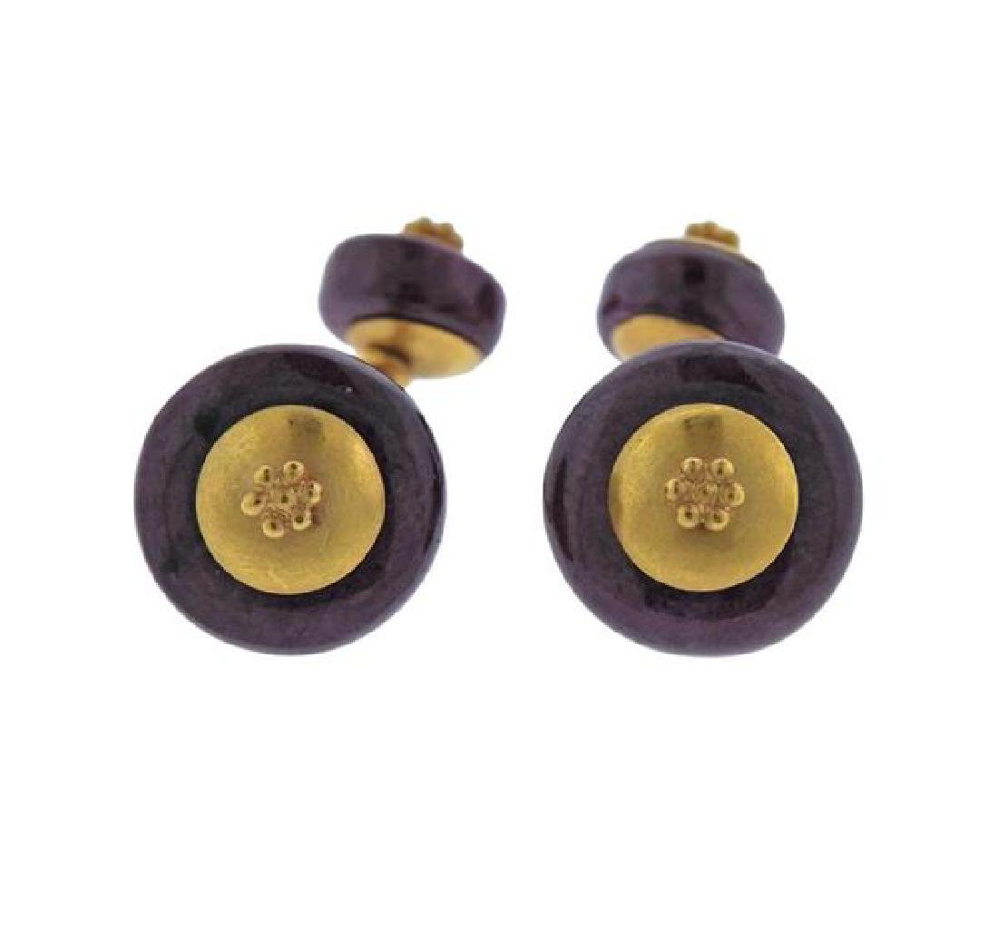 22K Gold Ruby Cufflinks