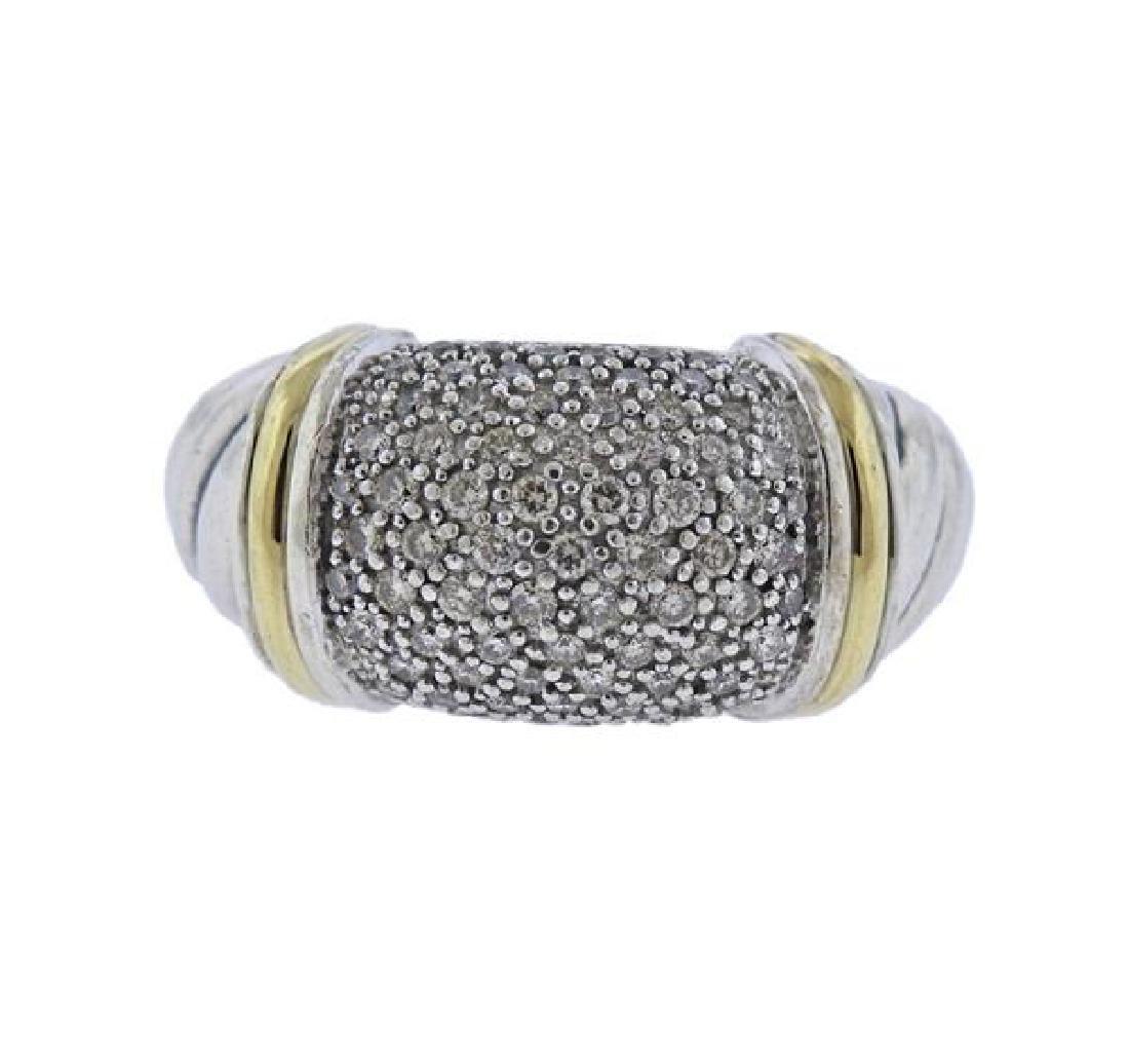 David Yurman 18K Gold Silver Diamond Metro Cable Ring