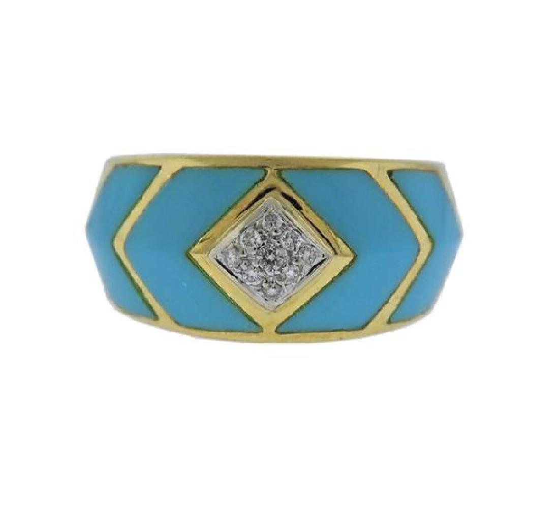18K Gold Diamond Enamel Band Ring