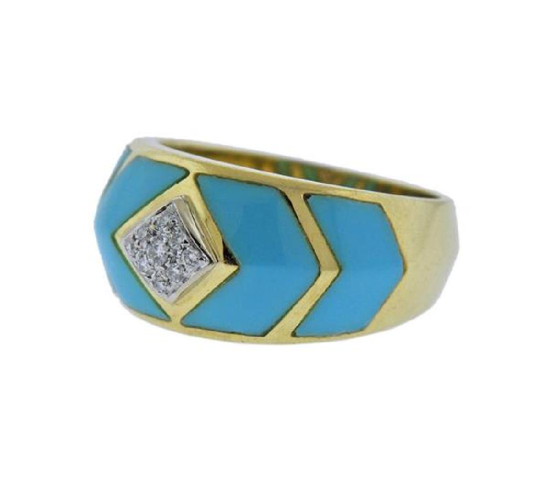 18K Gold Diamond Enamel Band Ring - 2