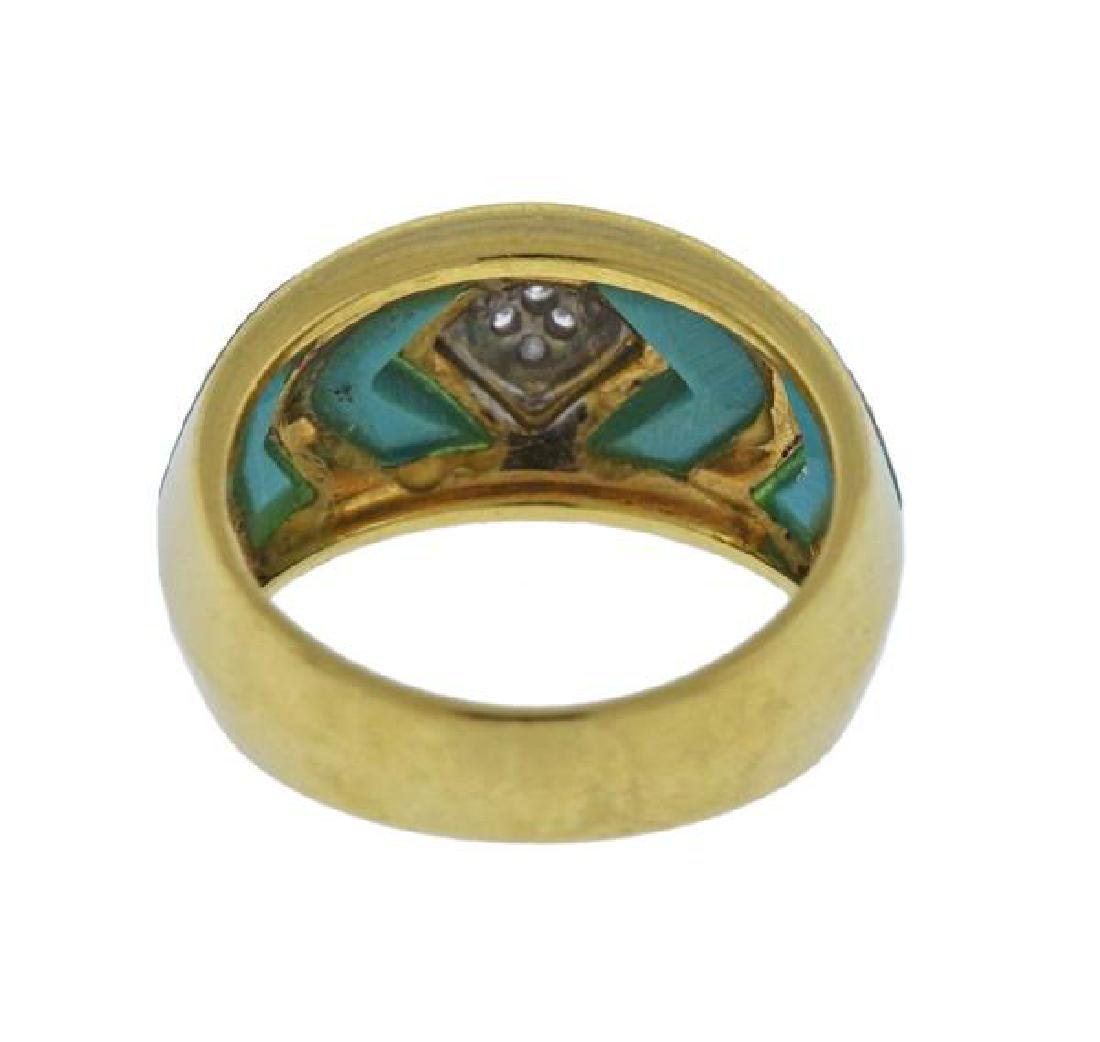 18K Gold Diamond Enamel Band Ring - 3