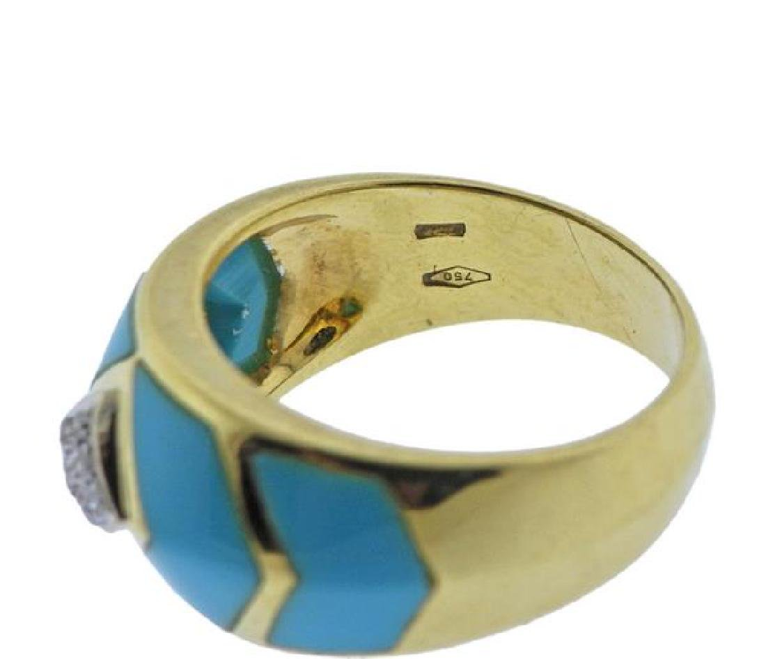 18K Gold Diamond Enamel Band Ring - 4