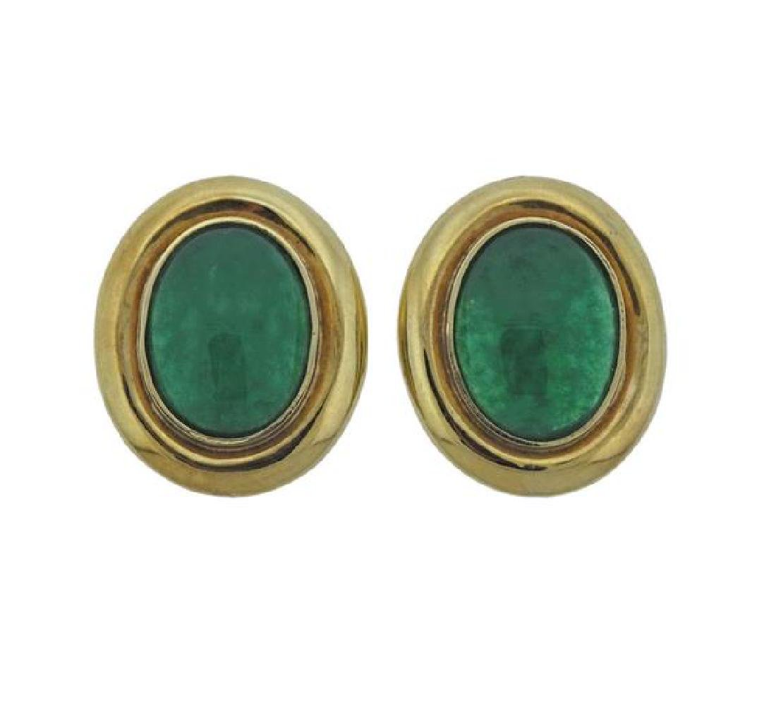 18K Gold Green Gemstone Earrings
