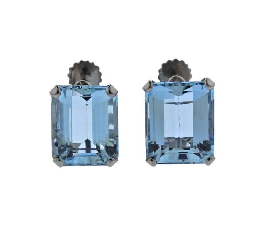 18K Gold Aquamarine Earrings