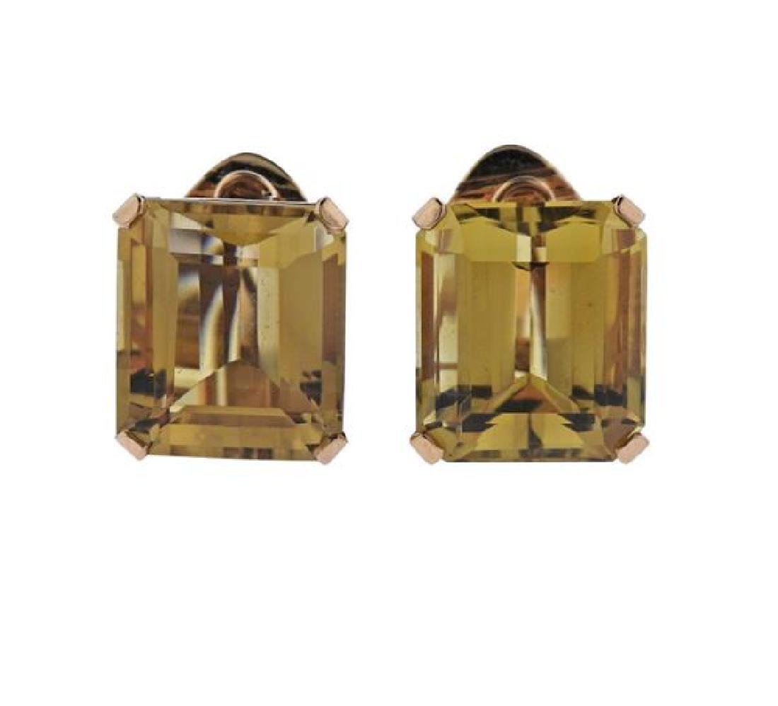18K Gold Citrine Earrings