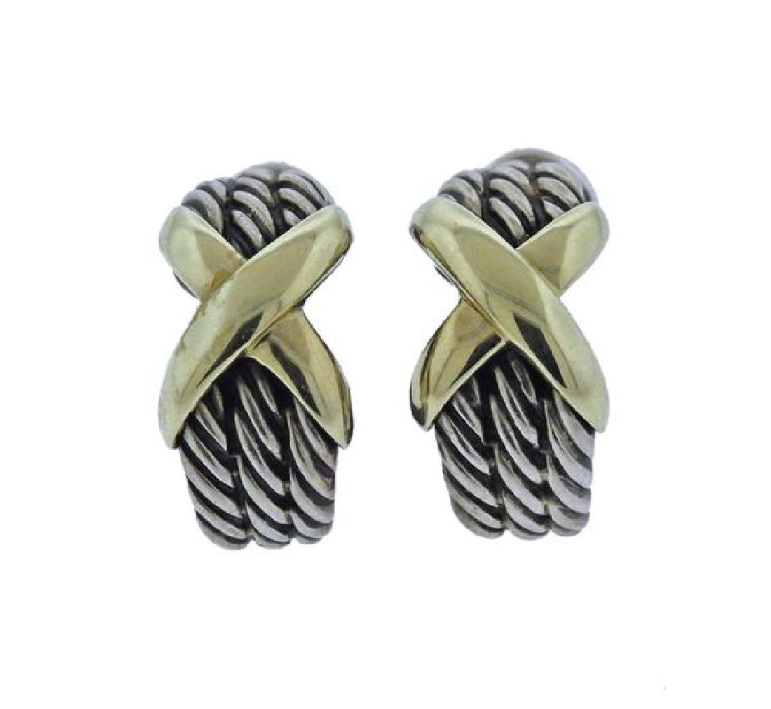 David Yurman Sterling 14K Gold Cable X Earrings