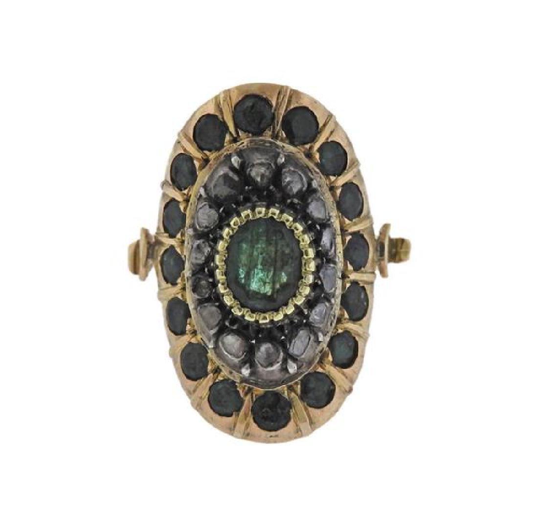 18K Gold Silver Diamond Emerald Ring