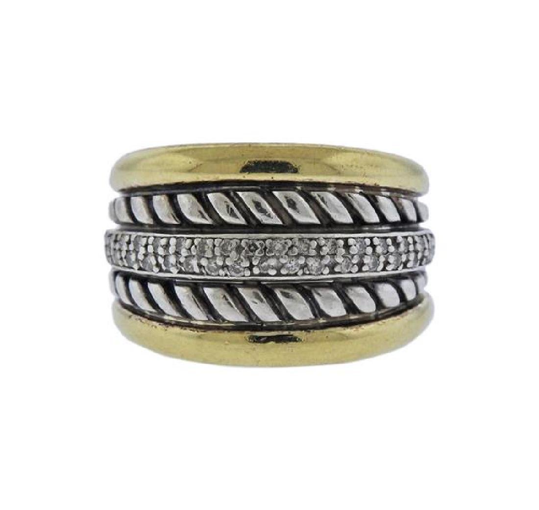 David Yurman Thoroughbred 18K Gold Silver Diamond Ring