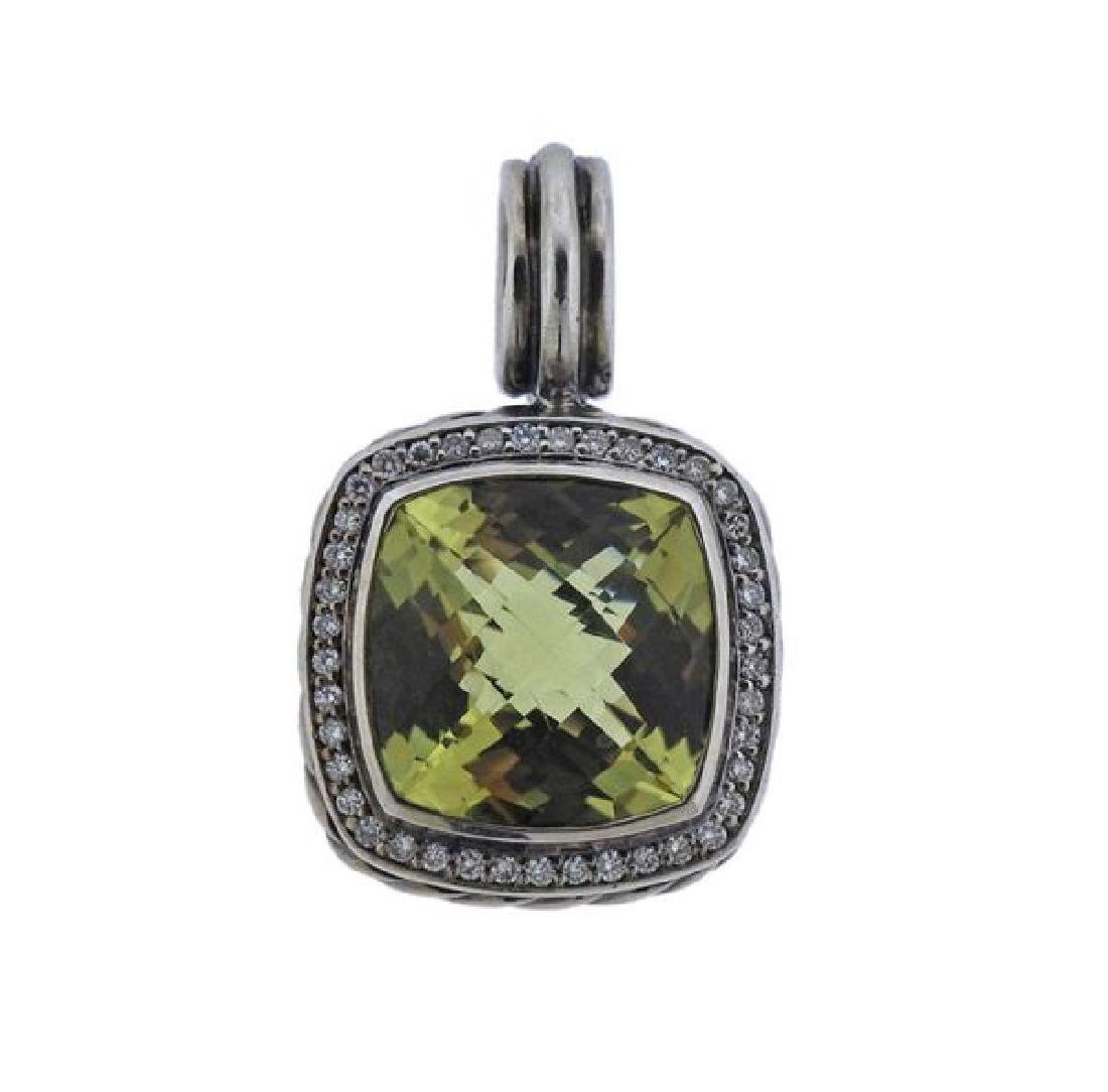 David Yurman Sterling Diamond Peridot Pendant
