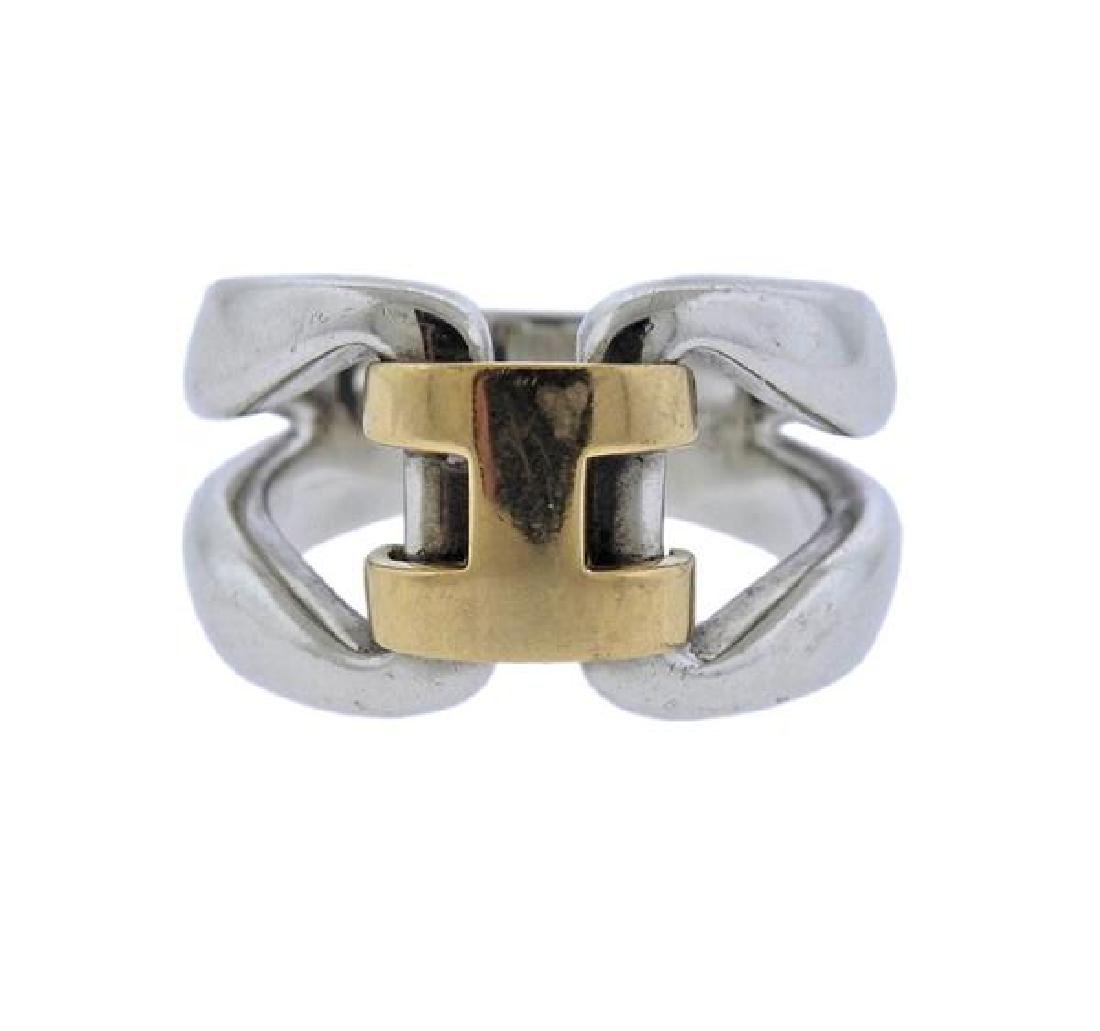 Hermes 18K Gold Sterling Silver Ring