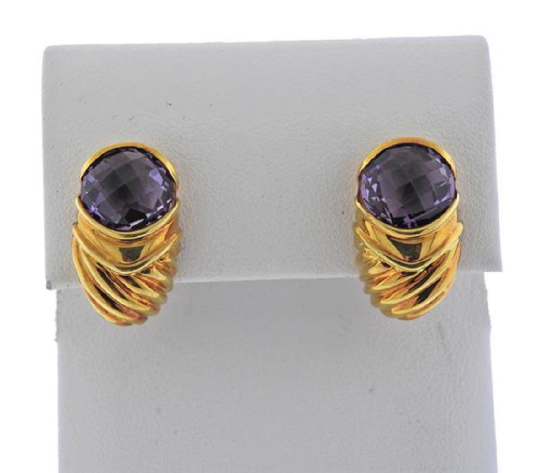 David Yurman 18K Gold Purple Gemstone Earrings