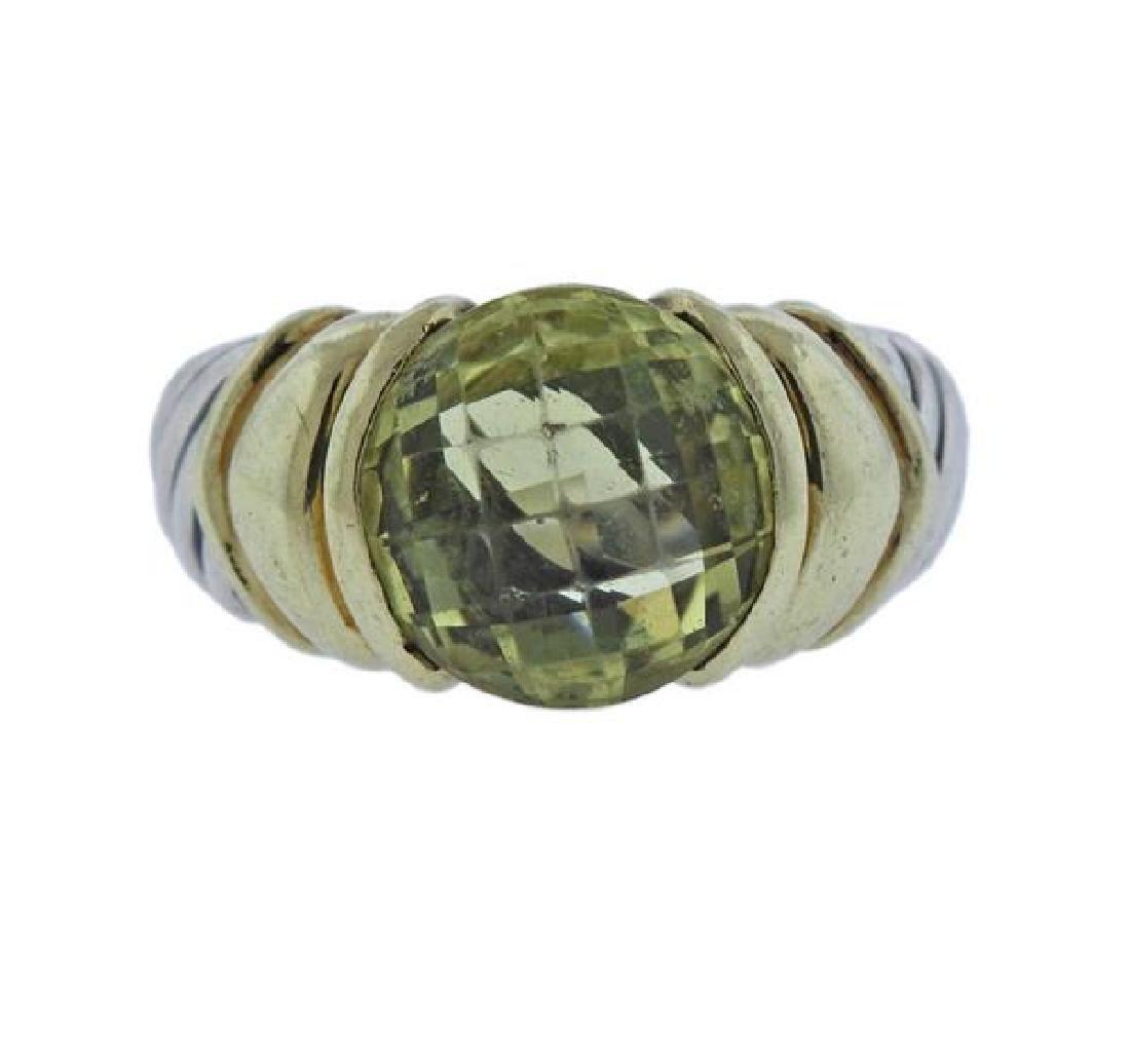 David Yurman 14K Gold Silver Green Gemstone Cable Ring