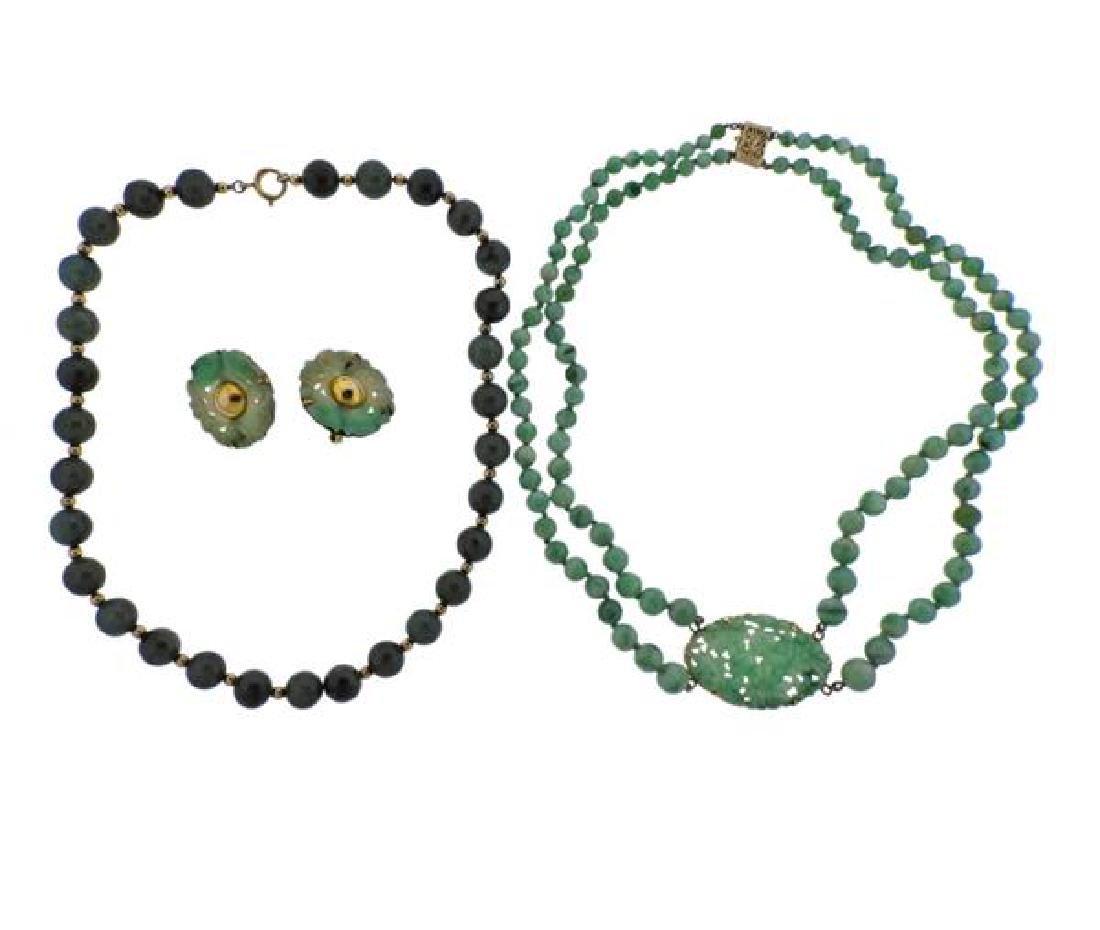 14K 10K Gold Jade Necklace Earrings Lot