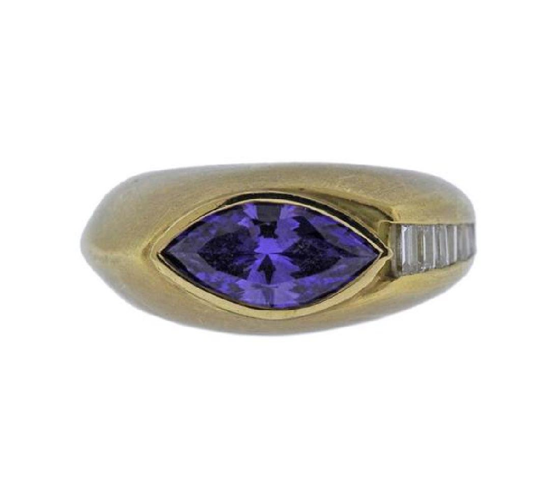 18K Gold Diamond Purple Gemstone Ring