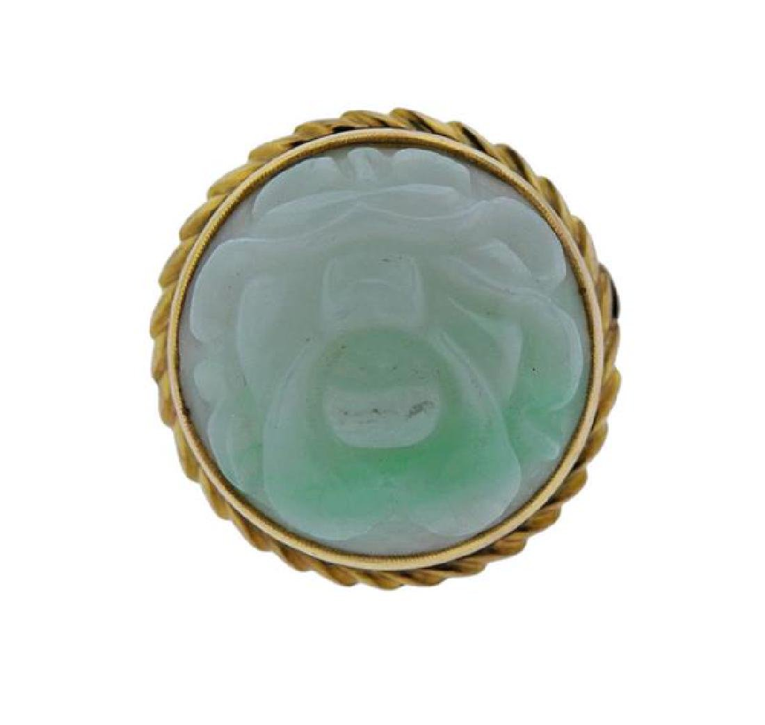 18K Gold Carved Jade Dome Ring
