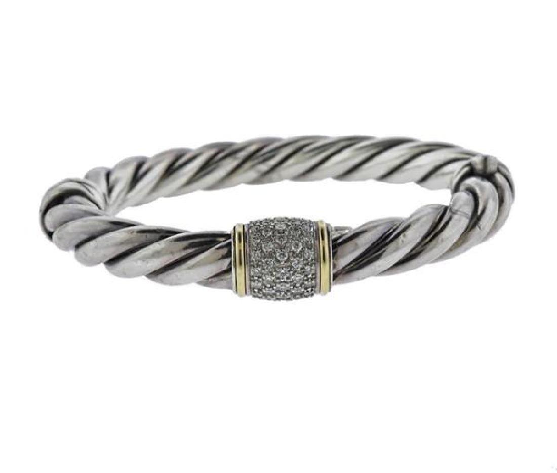 David Yurman K Gold Sterling Diamond Cable Bracelet