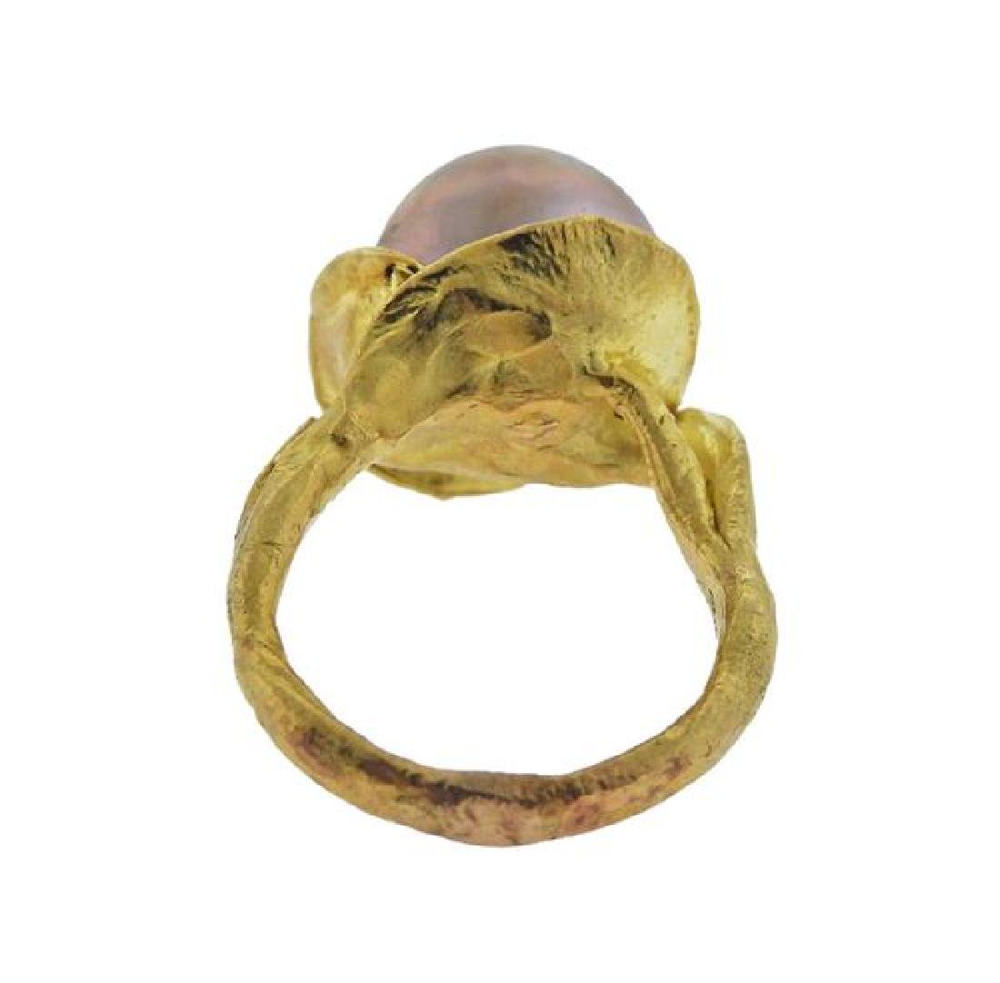 18K Gold Pearl Ring - 3