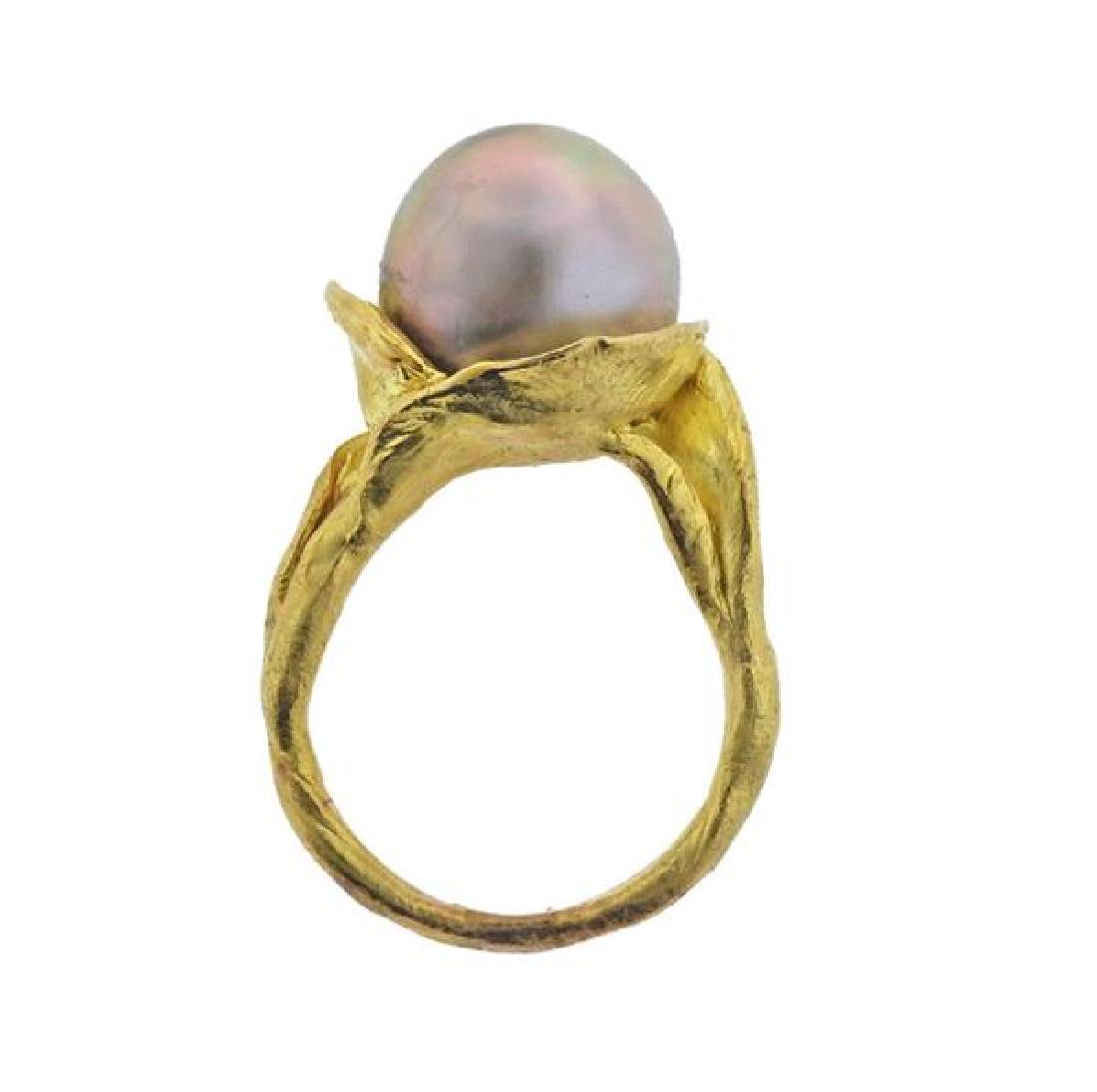 18K Gold Pearl Ring - 4