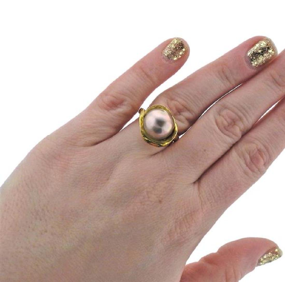 18K Gold Pearl Ring - 5