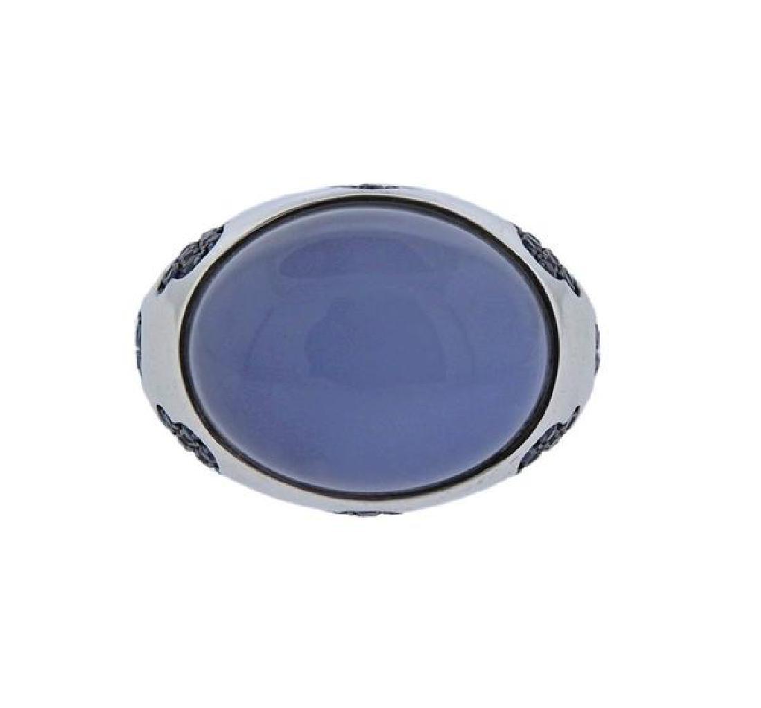 18K Gold Chalcedony Sapphire Ring