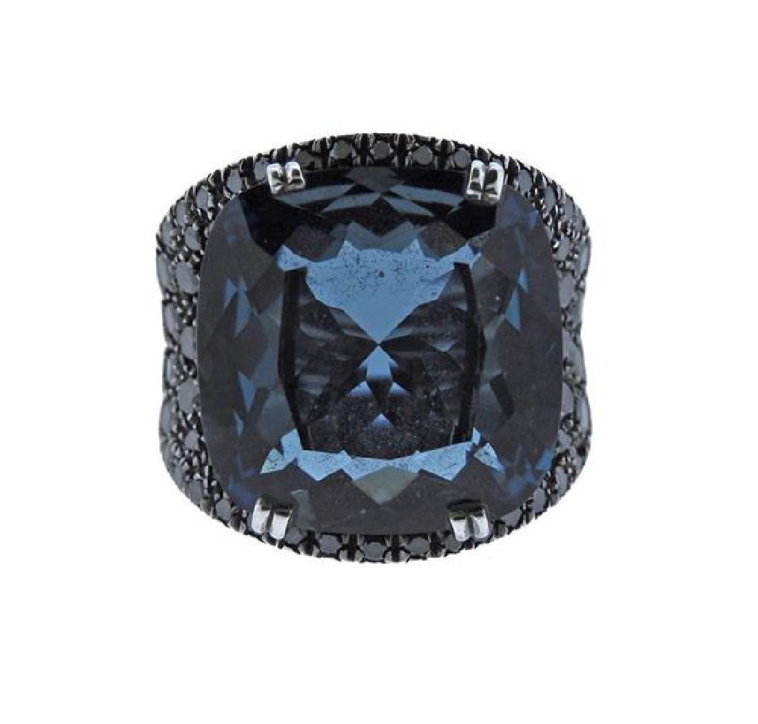 Rabat 18K Gold Diamond London Blue Topaz Ring